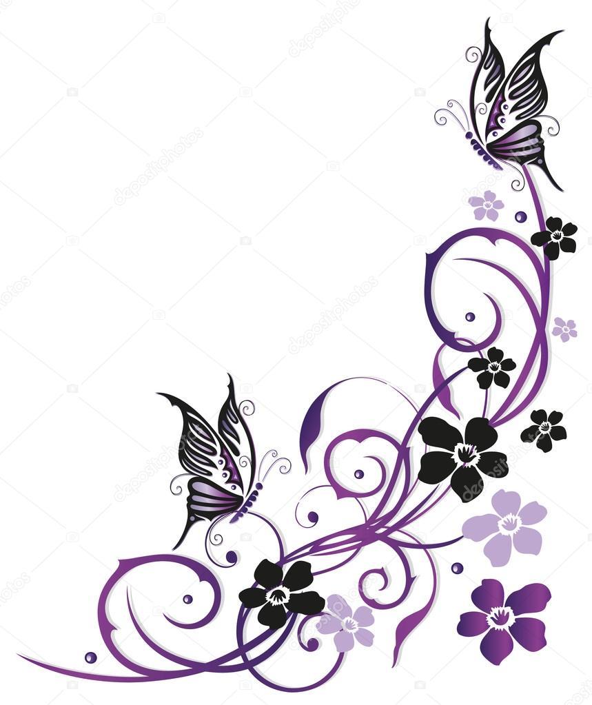 Flores de verano con mariposas vector de stock for Mural de flores y mariposas