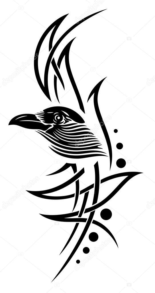 Tatuaż Wrona Kruk Grafika Wektorowa Christinekrahl