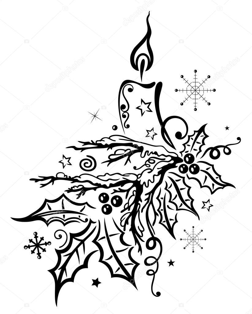 weihnachtentanne kerze — stockvektor © christinekrahl