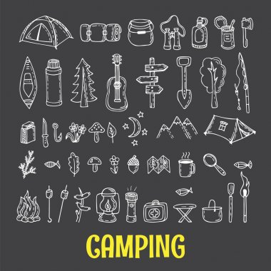 Set of hand drawn camping and hiking equipment.  Hike icons. Tra