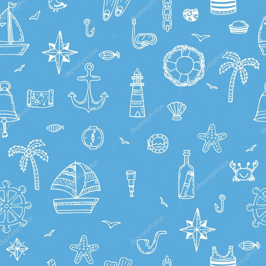 Cute hand drawn seamless pattern with nautical elements. Nautica
