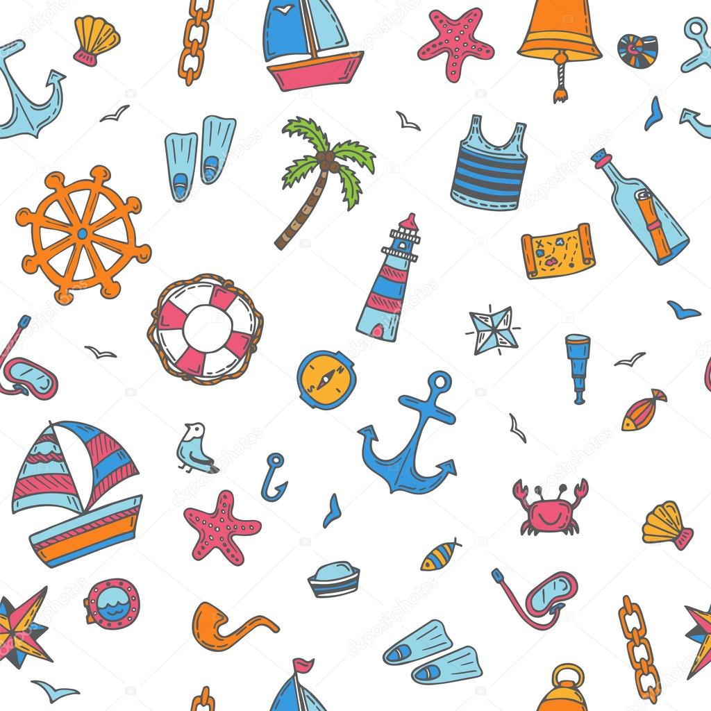 Hand drawn color seamless pattern with nautical elements. Nautic