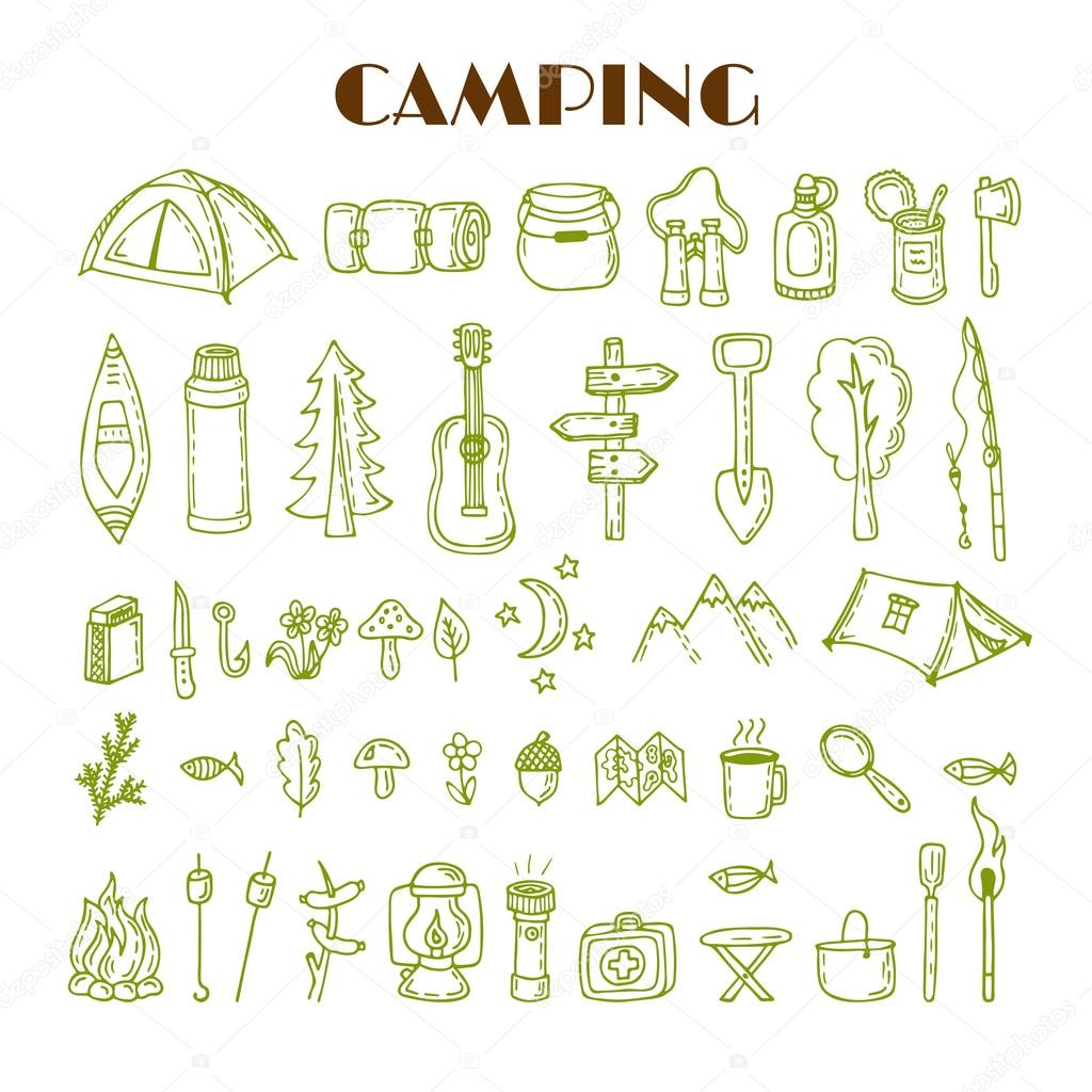 Set of hand drawn camping and hiking equipment. Travel and vacat