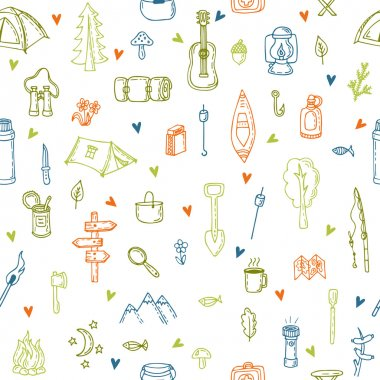 I love camping. Hand drawn hike seamless pattern with hearts. Do