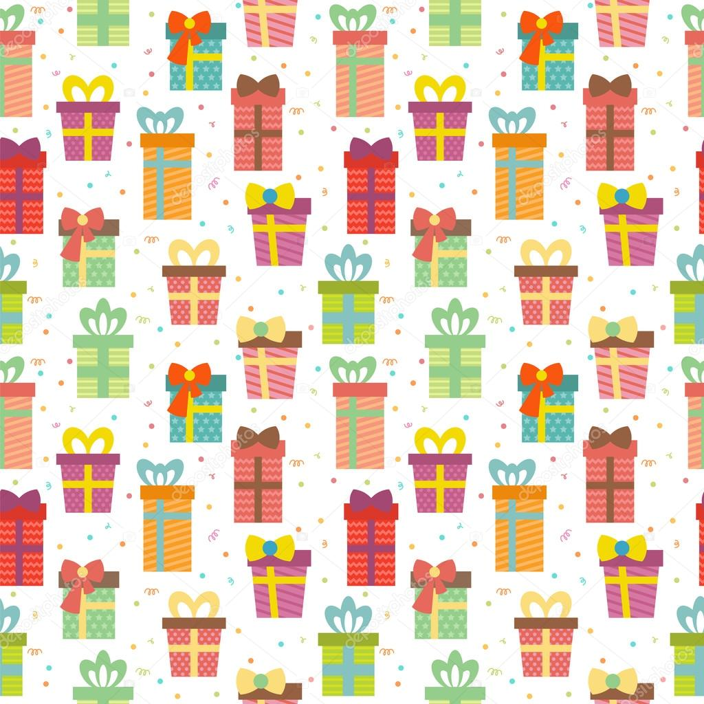 Seamless Pattern With Gift Boxes Cute Birthday Presents Backgr Stockvektor