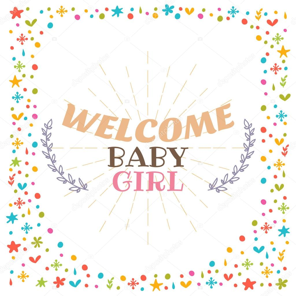 welcome baby girl shower card cute postcard arrival card