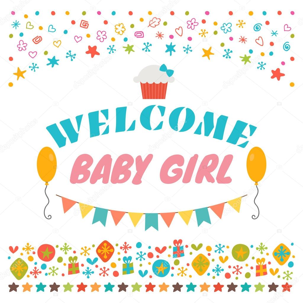 Welcome baby girl announcement card baby shower greeting card welcome baby girl announcement card baby shower greeting card baby girl shower card baby girl arrival postcard vector illustration vector by saenal78 m4hsunfo