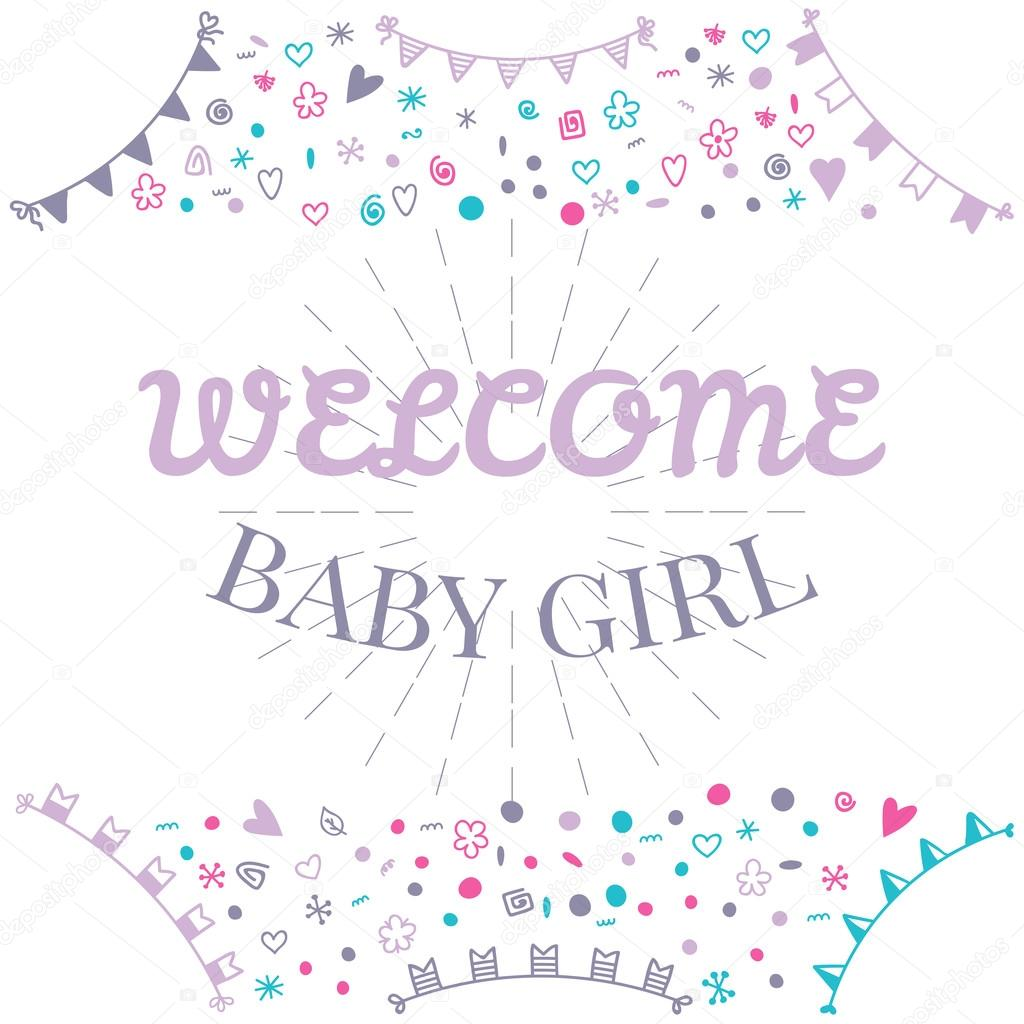 Welcome baby girl baby shower greeting card cute baby girl sho welcome baby girl baby shower greeting card cute baby girl sho stock vector m4hsunfo