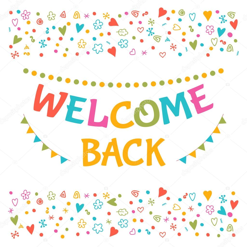 Welcome back text with colorful design elements greeting card welcome back text with colorful design elements greeting card stock vector m4hsunfo