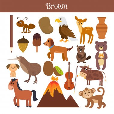 Brown. Learn the color. Education set. Illustration of primary c