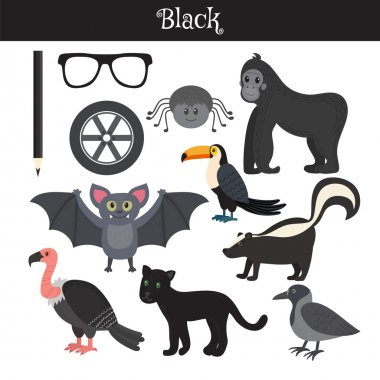 Black. Learn the color. Education set. Illustration of primary c