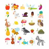 Learn to read. Children alphabet with cute cartoon animals and o