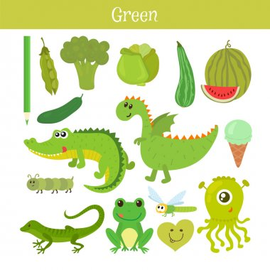 Green. Learn the color. Education set. Illustration of primary c