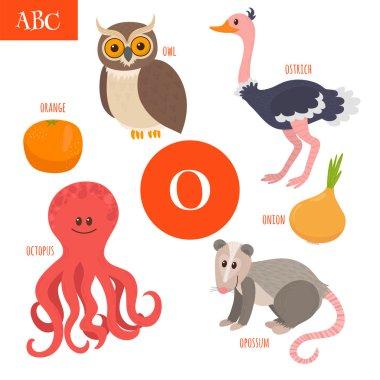 Letter O. Cartoon alphabet for children. Owl, opossum, ostrich,