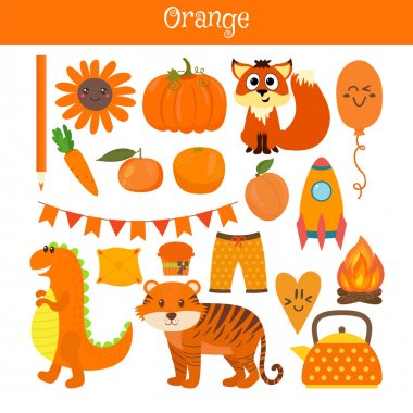 Orange. Learn the color. Education set. Illustration of primary