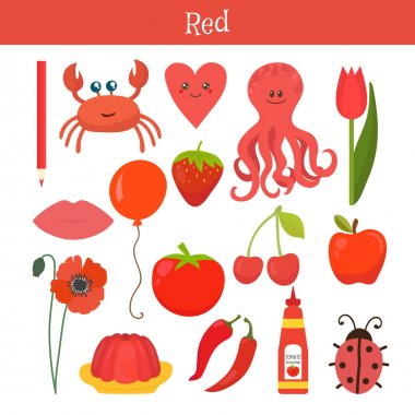 Red. Learn the color. Education set. Illustration of primary col