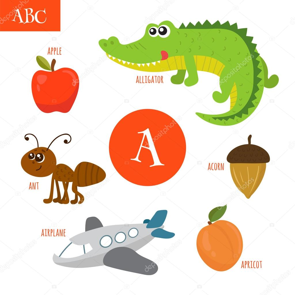 letter a cartoon alphabet for children alligator ant apple