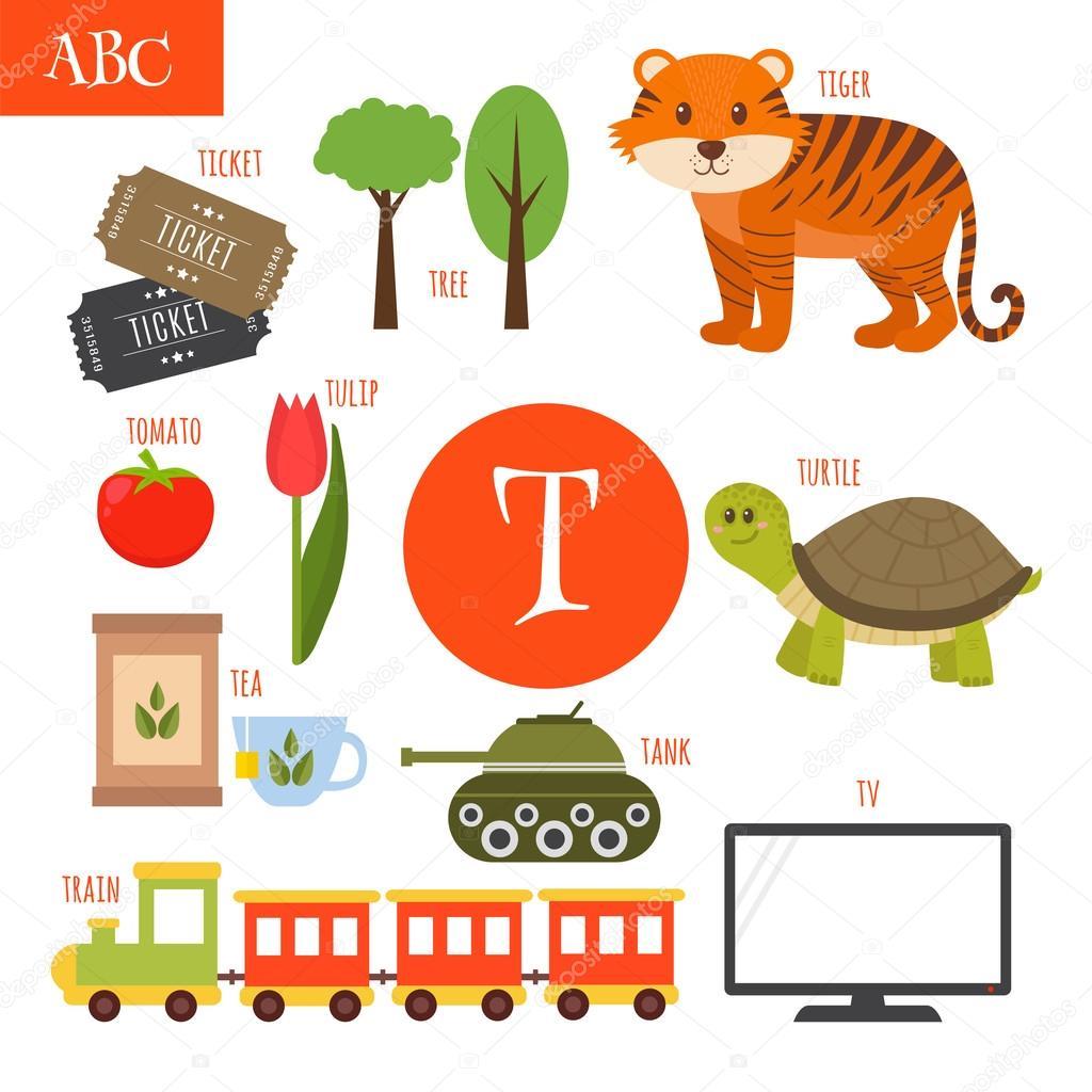 Alfabeto De Letras T Dibujos Animados Para Niños Tigre Té De