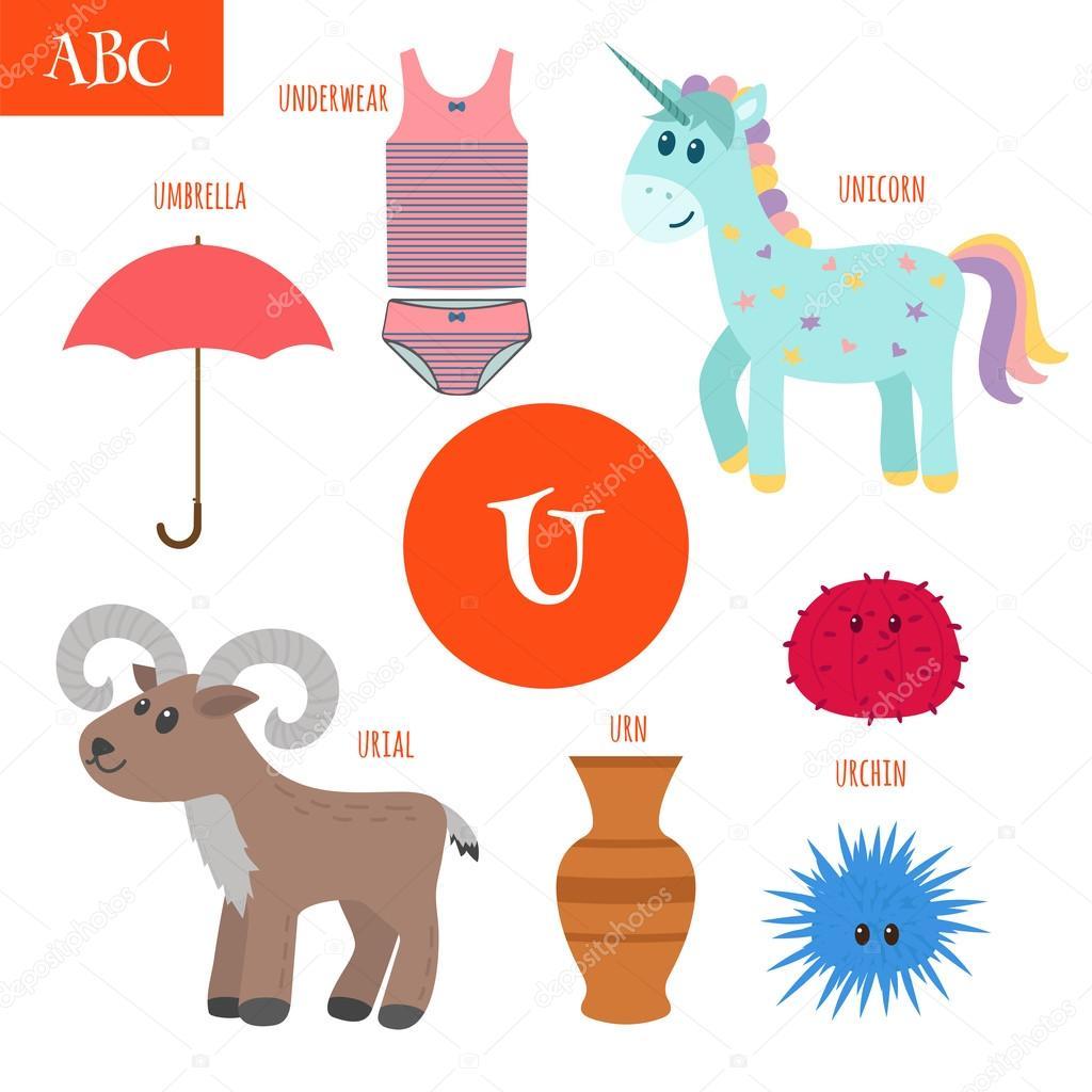 Letter U. Cartoon alphabet for children. Unicorn, umbrella, urn