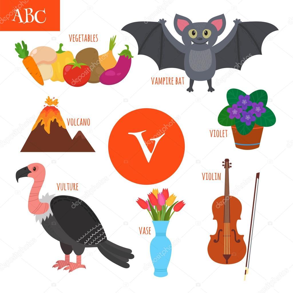 Alfabeto Letra V Dibujos Animados Para Niños Violín Buitre