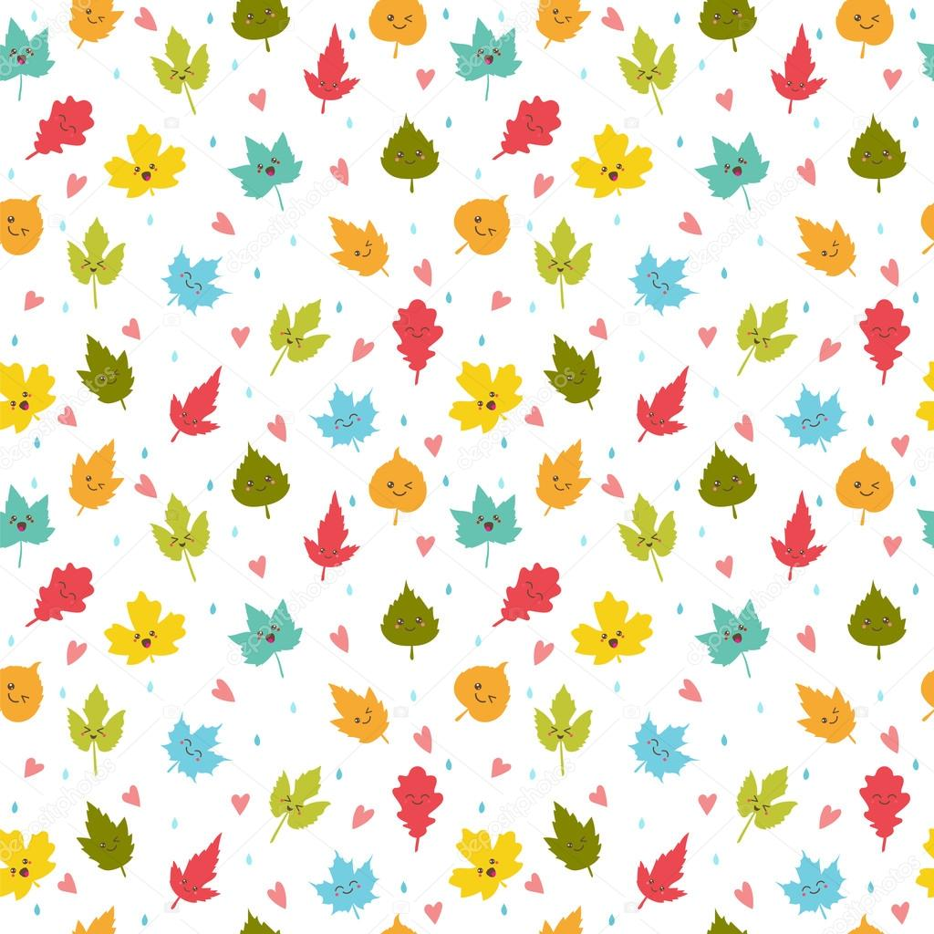 seamless pattern with autumn leaves cute background with hearts