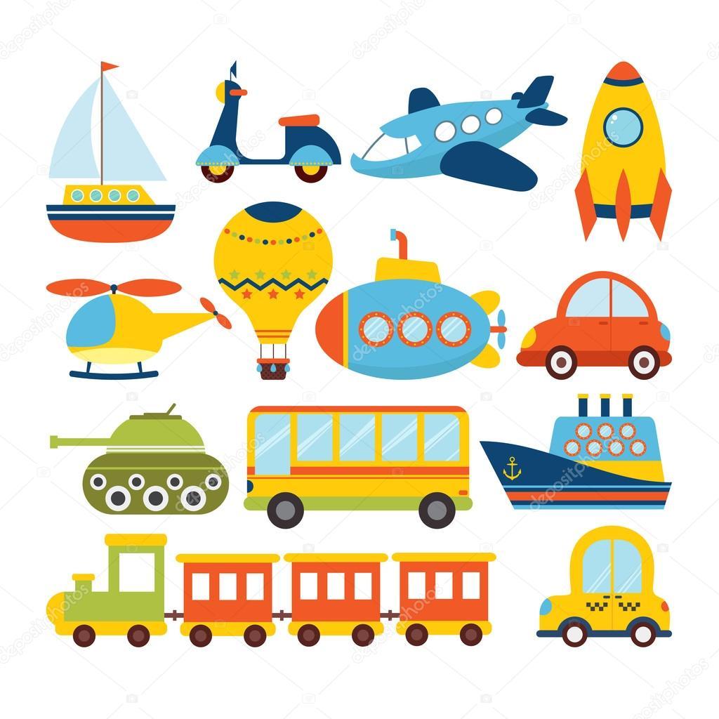 Cute Rooms 卡通交通工具一套。交通主题 图库矢量图像 169 Saenal78 122685596
