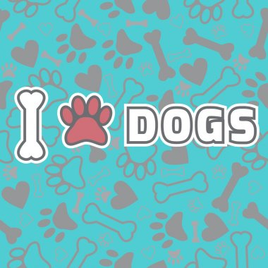 I love dogs. Background with animal footprints and bone