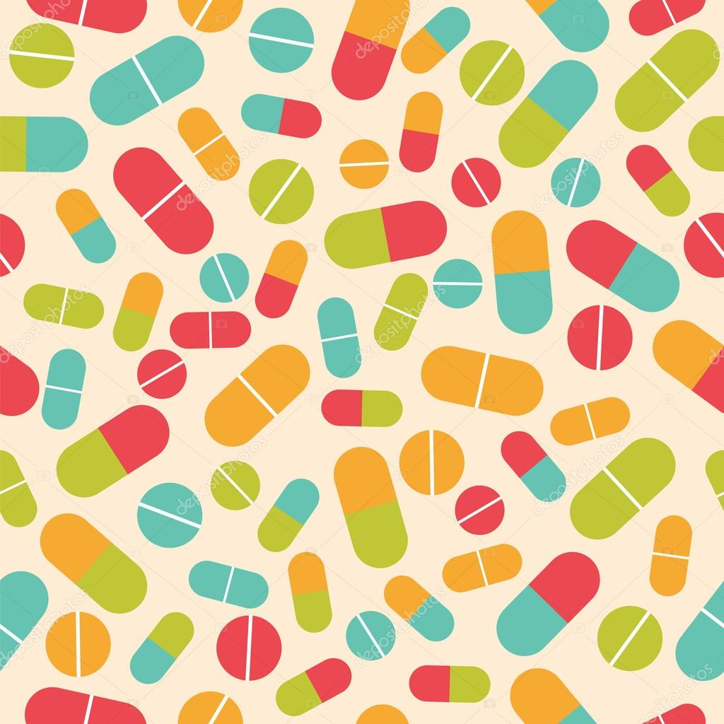 Pills collection. Medical pills and capsules seamless pattern. C