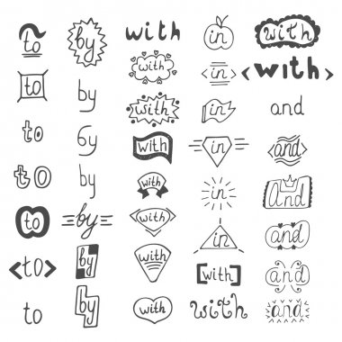 Hand drawn design elements.  Catchwords with, and, in, to, by