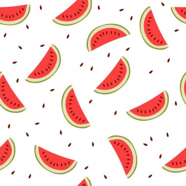 Cute seamless background with watermelon slices
