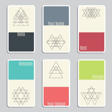 Set of visit cards with geometric figures