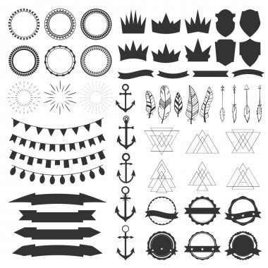 Collection of shields, badges and labels. Vector design elements