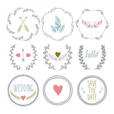 Set of hand drawn frames with wedding decorative elements
