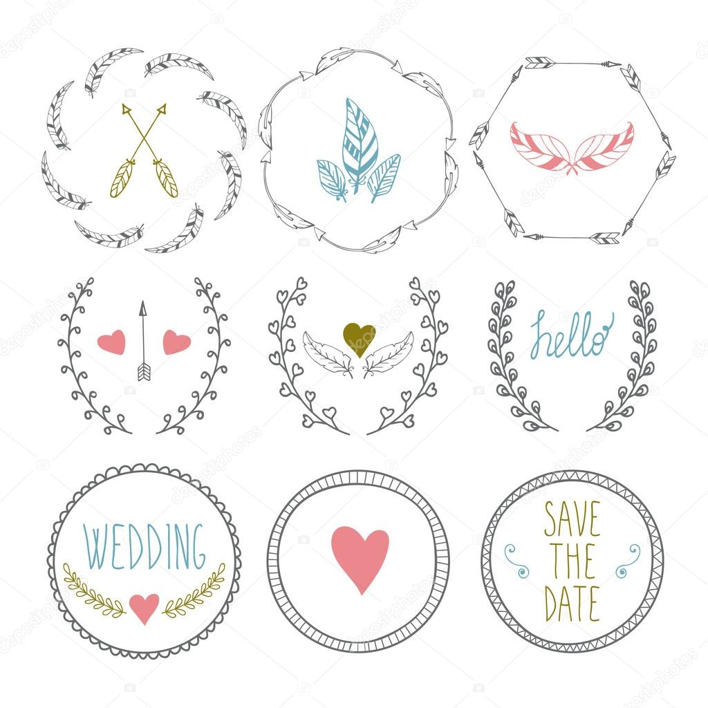 Set of hand drawn frames with wedding decorative elements stock set of hand drawn frames with wedding decorative elements stock vector junglespirit Image collections
