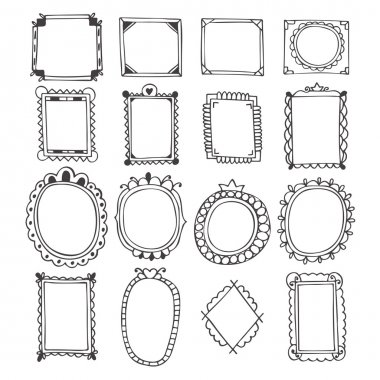 Vintage hand drawn frames.  Doodle set of design elements