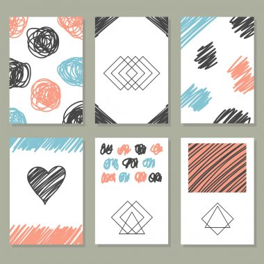 Collection of hand drawn creative journaling cards. Trendy poste