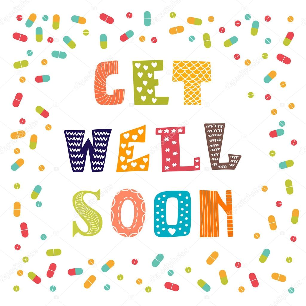 get well soon card with pills greeting card stock vector