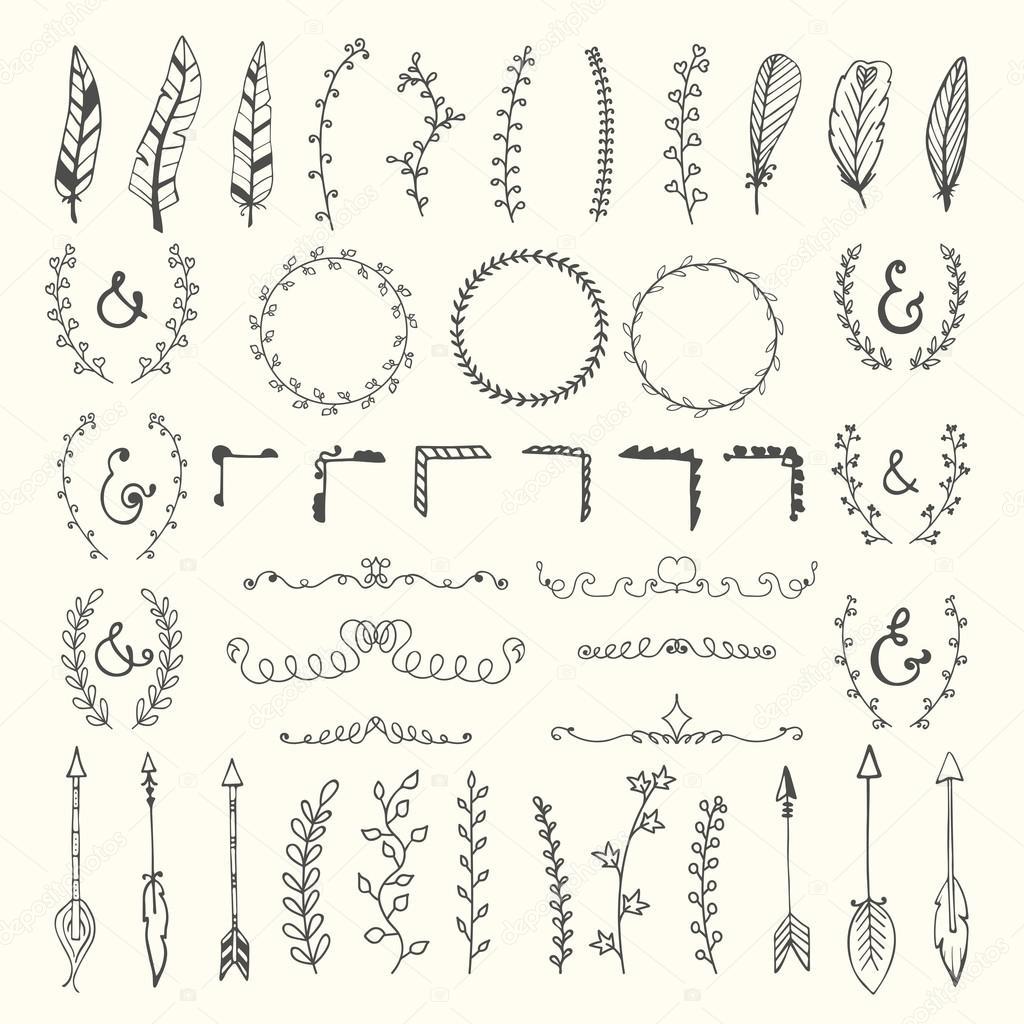 Hand drawn vintage floral elements. Weddings, Valentines day, bi