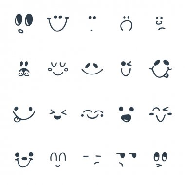 Set of hand drawn funny faces. Happy faces