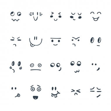 Sketched facial expressions set. Set of hand drawn funny cartoon