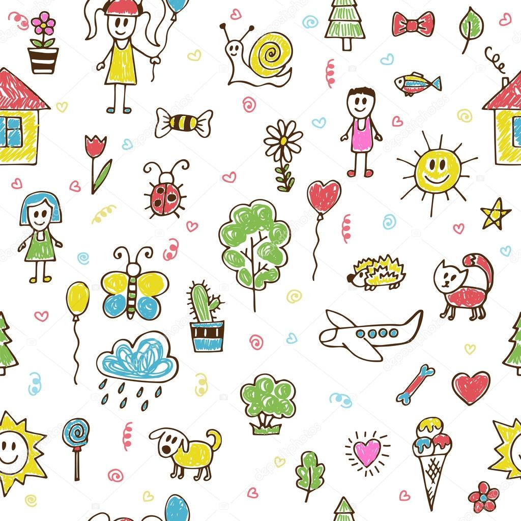 Hand drawn children drawings color seamless pattern. Doodle chil