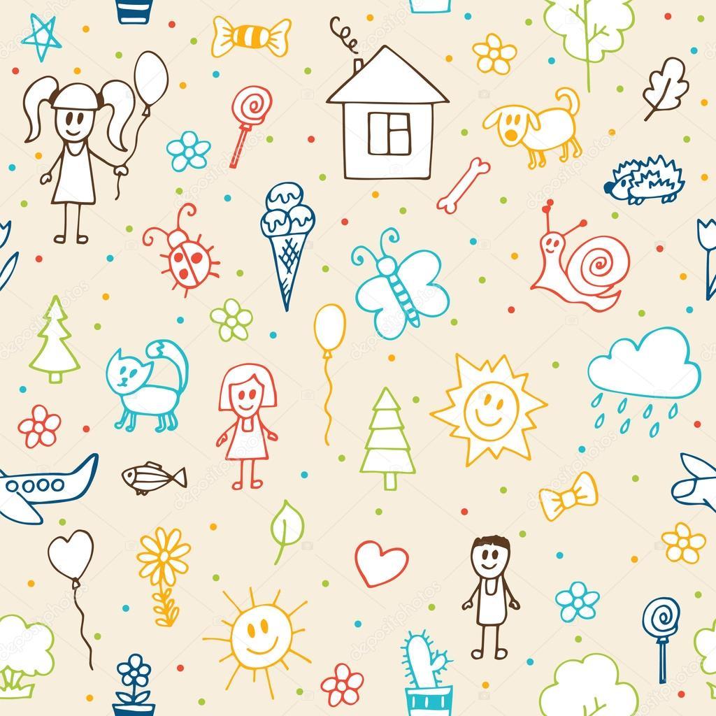 Hand drawn children drawings seamless pattern. Doodle children d