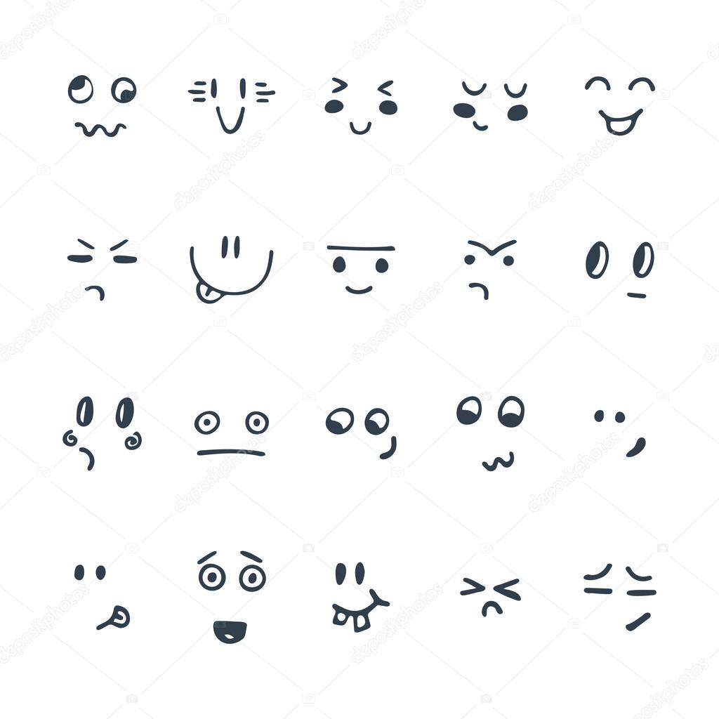 Conjunto De Expresiones Faciales Esbozadas Conjunto De