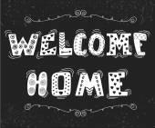 Vítejte doma text s prvky roztomilý design