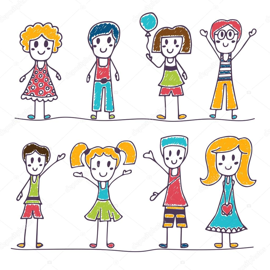 Collection of happy children. Hand drawn cute little kids ...
