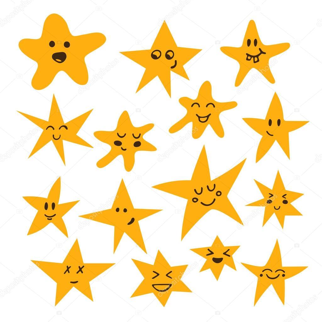 Juego De Estrellas Lindos Y Divertidos Hechos A Mano Caricatura
