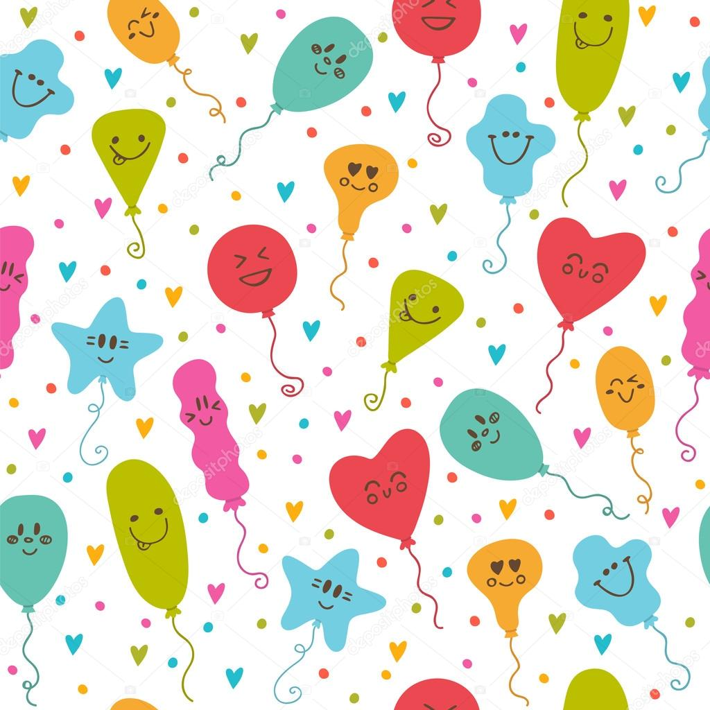 seamless pattern with balloons of different colors cute party b