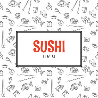 Restaurant sushi menu design. Menu template with hand drawn back