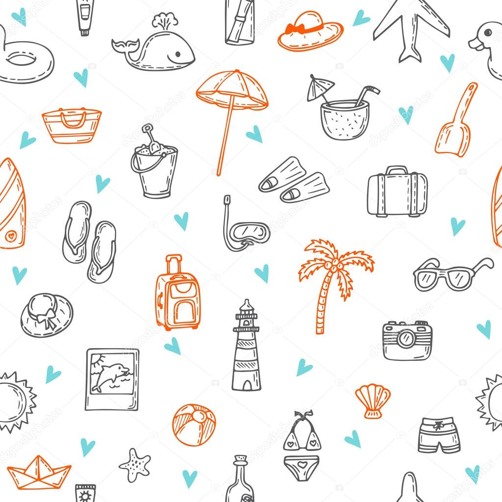Cute hand drawn summer time theme seamless pattern. Beach theme