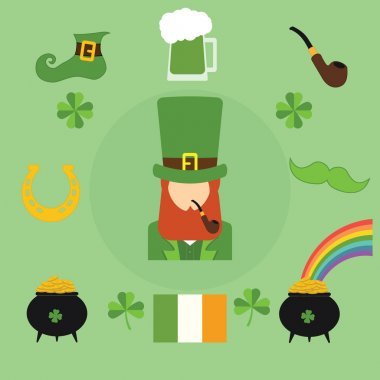 Happy St. Patricks Day vector illustration icons. Traditional irish symbols in modern flat style. Design elements for Irish poster, banner.